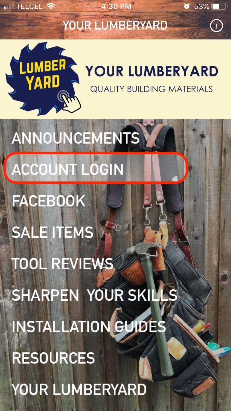 Menu: Account Login