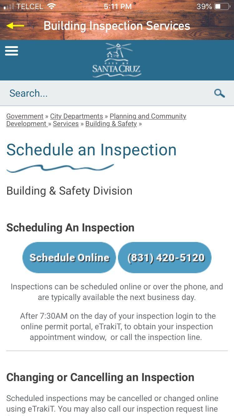 CitySC Schedule Inspection