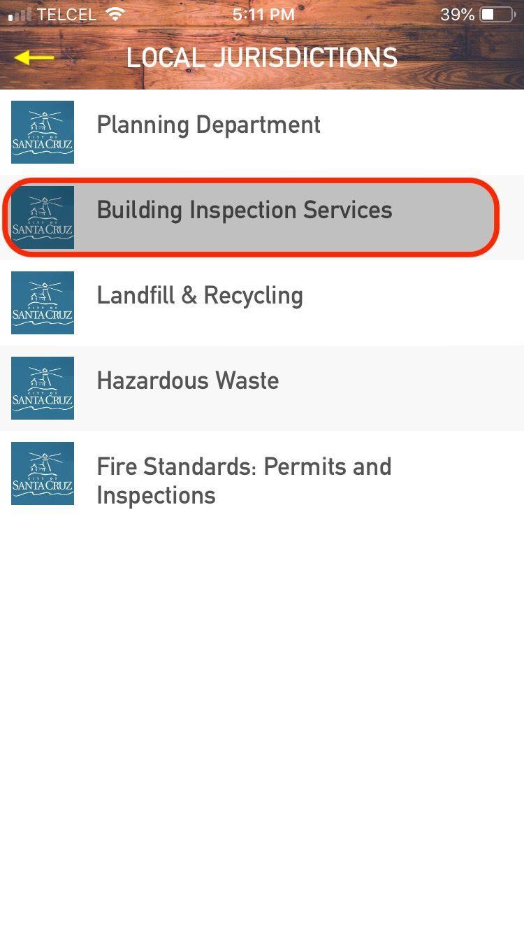 Menu: LC CitySC Schedule Inspection
