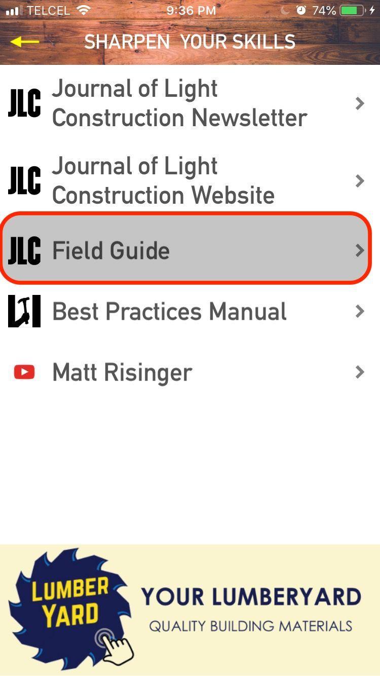 Menu: JLC Field Guide