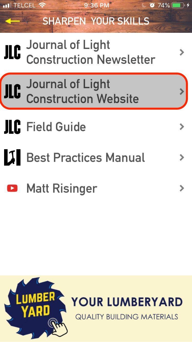 Menu: JLC Website