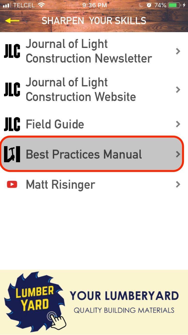 Menu: Hammer & Hand Best Practices