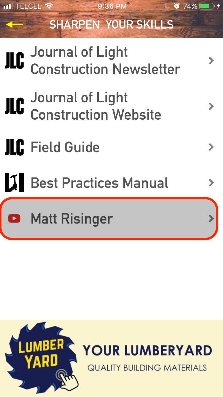 Menu: Matt Risinger Videos