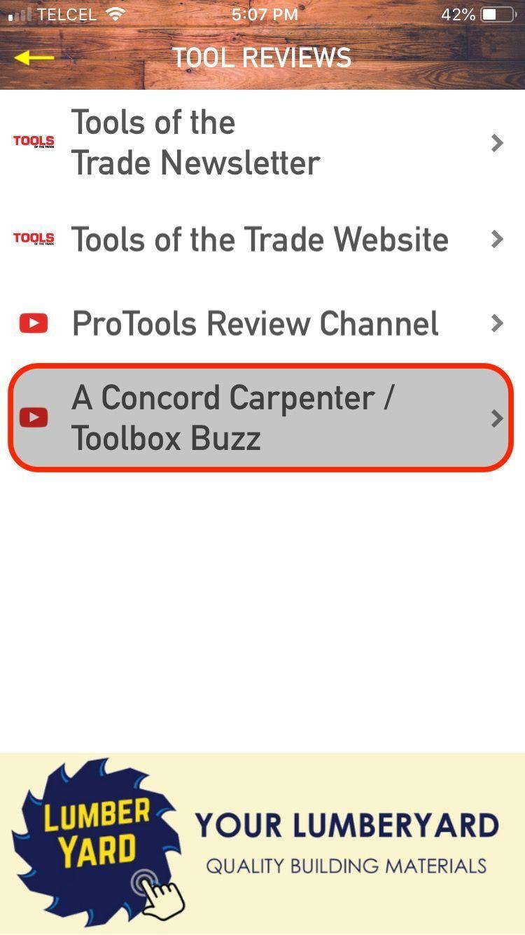 Menu: Concord Carpenter