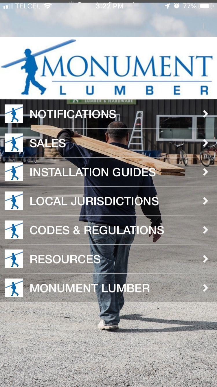 Monument Lumber App Home screen